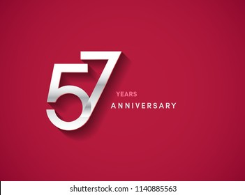 57 years anniversary celebration logotype with silver color isolated on Red background