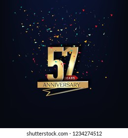 57 years anniversary and celebration templates logo design golden and silver with dark blue background