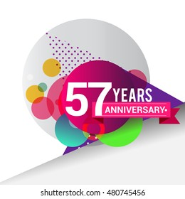 57 years Anniversary logo, Colorful geometric background vector design template elements for your birthday celebration.