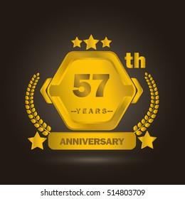 57 years golden anniversary celebration. template logo
