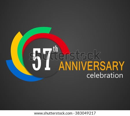 57th Anniversary Celebration Background 57 Years Stock Vector