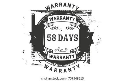58 days warranty icon vintage rubber stamp guarantee