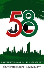 58 Kuwait National Day. February 25-26.Vector Illustration. Logo Image. The Flag.