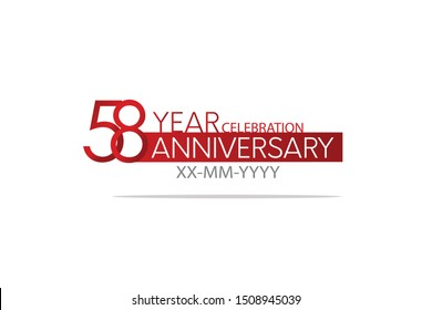 58 Year Anniversary Red Color with White Text, For Invitation, banner, ads, greeting card - Vector - Shutterstock ID 1508945039