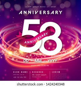 58 years anniversary logo template on purple Abstract futuristic space background. 58th modern technology design celebrating numbers with Hi-tech network digital technology concept design elements.