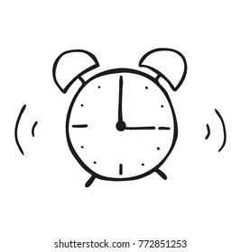 58/5000 Hand illustration of an alarm clock.  The hands are isolated - they can rotate freely. Use as illustrations for newspapers, magazines, invitations, letters, cards etc. Vector eps 10.