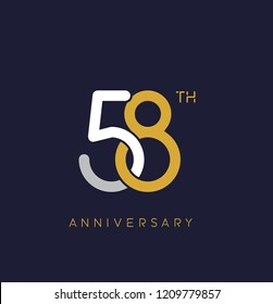 58th anniversary logo.overlapping number with simple monogram color. vector design for greeting card and invitation card.