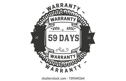 59 days warranty icon vintage rubber stamp guarantee