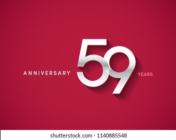 59 years anniversary celebration logotype with silver color isolated on Red background