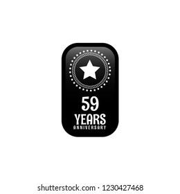 59 years anniversary celebration simple emblem, label, badge, logo,seal,sticker. vintage logo, 59 year sign, jubilee, greeting card
