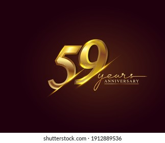 59 Years Anniversary Logo Golden Colored isolated on elegant background, vector design for greeting card and invitation card