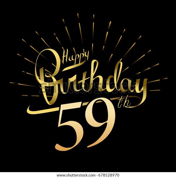 59th Happy Birthday Logo Beautiful Greeting Stock Vector