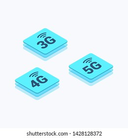 5G, 4G & 3G Network Isometric Color Icon Set