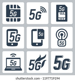 5G or 5th generation mobile network related vector icon set