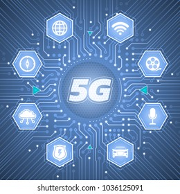 5G - 5th Generation Wireless Systems. Infographical template on the theme of 'Wireless Technologies / Mobile Networks'.