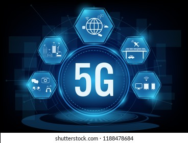 5g communication network systems with line icon.Vector illustration