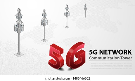 5g Communication Tower Wireless Hispeed Internet with Data center with circuit board is background. LTE aerial network connection, fastest internet in future