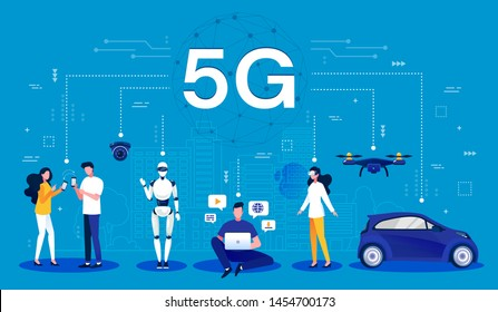 5G concept. Cartoon infographic of a 5G wireless network using mobile wireless technology for faster connectivity with smartphones, robotics, computing, drones and vehicle, vector illustration