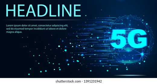 5G data flow high speed internet web telecommunication tower global connection information transmitter. Vector illustration. Headline
