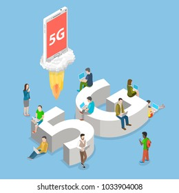 5g flat isometric vector concept. People with mobile devices are sitting and standing on and around the big letters 5G.
