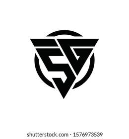 5G G5 Triangle Logo Circle Monogram Design Vector Super Hero Concept