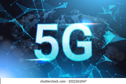 5g Internet Connection Speed Sign Over Futuristic Low Poly Mesh Wireframe On Blue Background Vector Illustration