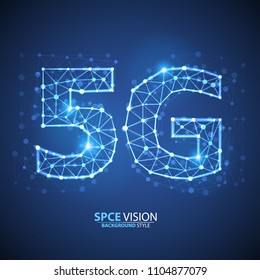 5g Internet Connection Speed Sign Over Futuristic Low Poly Mesh Wireframe On Blue Background Vector Illustration. 5G Vector Icon. 5th Generation Wireless Internet Network Connection Information