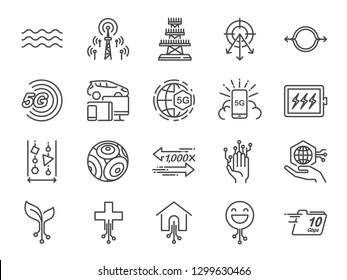 5G internet line icon set. Included icons as IOT, internet of things, bandwidth, signal, devices and more.