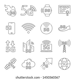 5G internet line icons set. Included icons as IOT, internet of things, bandwidth, signal, devices and more. Editable Stroke. EPS 10