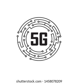 5G logo network speed circuit technology illustration in isolated white background, broadband telecommunication wireless internet concept
