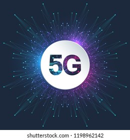 5G Logo network wireless systems and internet vector illustration. 5G banner concept. Vector sign, symbol 5G. Technology sci-fi concept