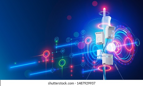 5g mobile internet communication tower of cellular network. Wireless broadband antenna transmissions telecommunication signal. Aerial mast of digital connection broadcasting data on portable devices.