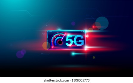 5G network communication with high speed technology transfer data, the next generation of internet. Vector