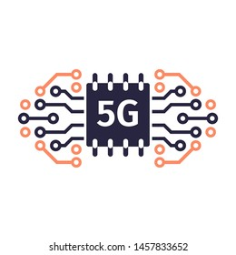 5G network concept. 5G technology background. Mobile telecommunications technology with microelectronics background.