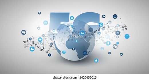 5G Network Label in front of Earth Globe - High Speed, Broadband Mobile Telecommunication and Wireless Internet Design Concept with Earth Globe and Icons