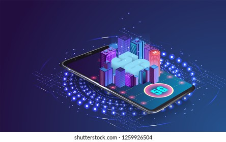5g network logo over the smart city with icons of town infrastructure. devices connection via high speed, broadband telecommunication wireless internet. eps10