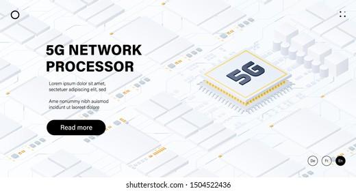 5G network processor illustration. Mobile wireless internet of next generation. Isometric futuristic micro chip. Web page design template