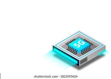 5G network processor illustration. Mobile wireless internet of next generation. Isometric futuristic micro chip. micro chip illustration. PC mainboard illustration background. 3D isometric hardware.
