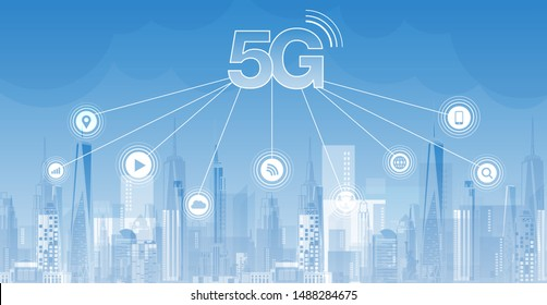 5G network wireless internet Wi-fi connection and internet of things with modern city skyline. Smart city and communication network concept. High speed, broadband telecommunication. vector design.