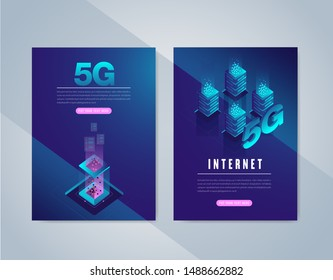 5G network wireless internet Wi-fi connection. Smart city and communication network concept. High speed, broadband telecommunication. vector design.