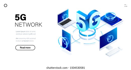 5G network wireless technology illustration. Mobile internet of next generation. Isometric futuristic hi-tech smartphone with big letters. Web page design template