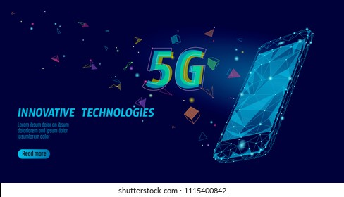 5G new wireless internet wifi connection. Laptop mobile device isometric blue 3d flat. Global network high speed innovation connection data rate technology vector illustration art