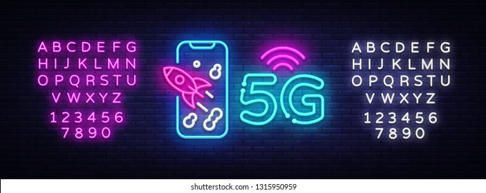 5G new wireless internet wifi connection neon sign vector. 5G Design template neon sign, light banner, neon signboard, nightly bright advertising, light inscription. Vector. Editing text neon sign