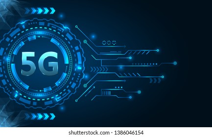5G New Wireless Internet Wi-fi Connection, HUD Elements - Illustration Vector