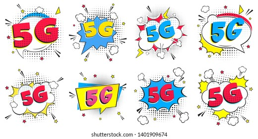 5G new wireless internet wifi connection comic style speech bubble exclamation text 5g flay style design vector illustration isolated on white background set. New mobile internet 5g sign icon.