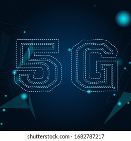 5G New Wireless Internet Wi-Fi Connection. High-technology Global Network. High Speed Innovation Connection Data Rate Technology - Illustration Vector with gradient background.