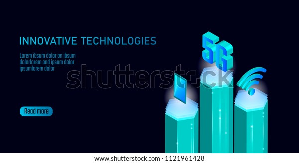 5G new wireless internet wifi connection. Smartphone mobile device isometric blue 3d flat. Global network high speed innovation connection data rate technology vector illustration