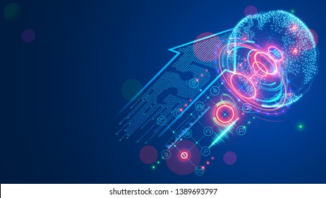 5g sign arrow consist digits matrix. Global high speed internet via wireless network concept. Modern mobile communication technology background. Abstract telecommunication signal connection with world