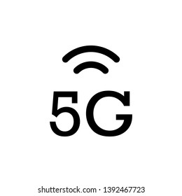 5g, signal vector icon. Simple element illustration from UI concept.  Mobile concept vector illustration. 5g, signal vector icon