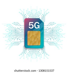 5G Sim Card. 5G technology background. Mobile telecommunications technology with microelectronics background.